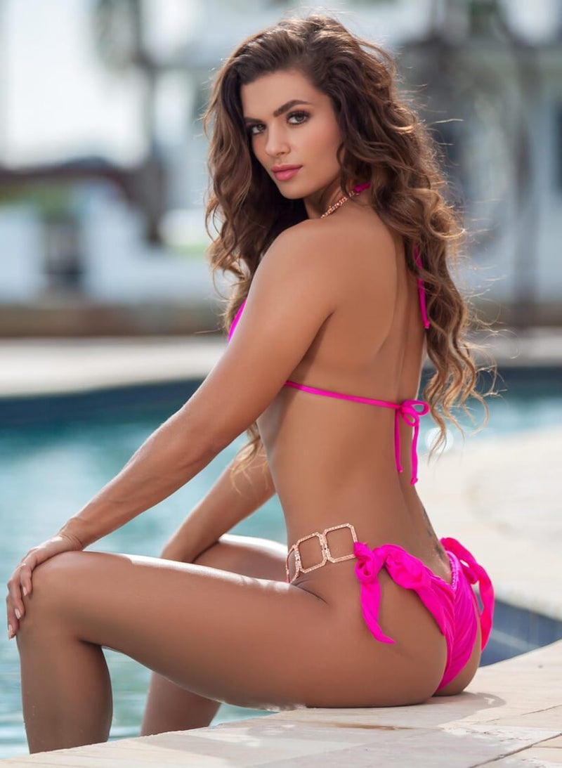 Tessa Triangle Top & Tie Side Bottom - Pink - dreadavinci