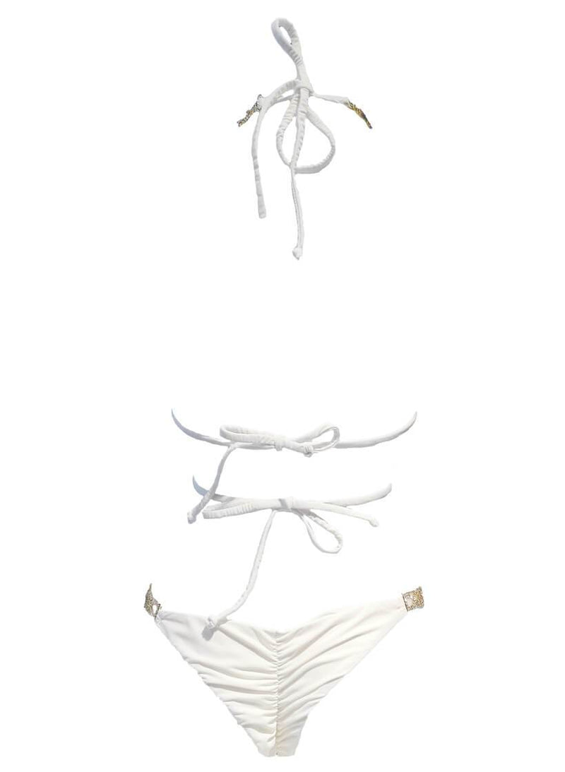 June Strappy Triangle Top & Tango Bottom - White - dreadavinci