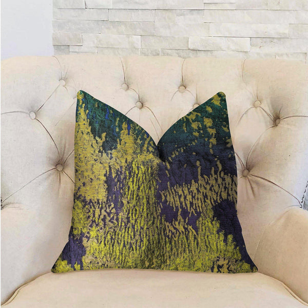 Emerald Rainforest Green, Yellow and Blue Luxury Throw Pillow - dreadavinci