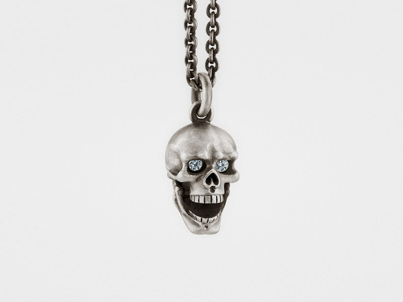 Skull Pendant With Hinged Jaw and Diamond Eyes in Sterling Silver - dreadavinci