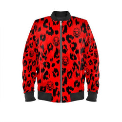 Women's Red Leopard Bomber Jacket - dreadavinci