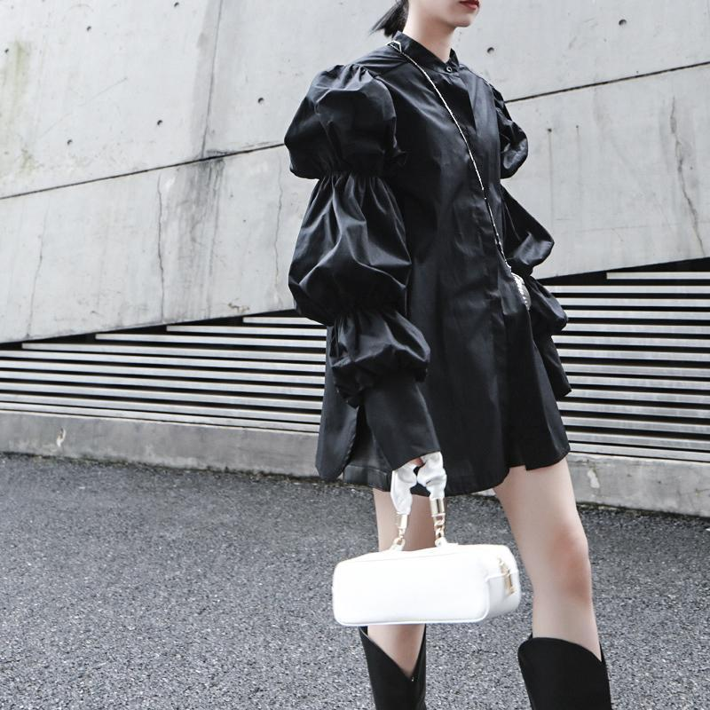 Daoko Pleated Puff Long Sleeve Shirt - Black - dreadavinci