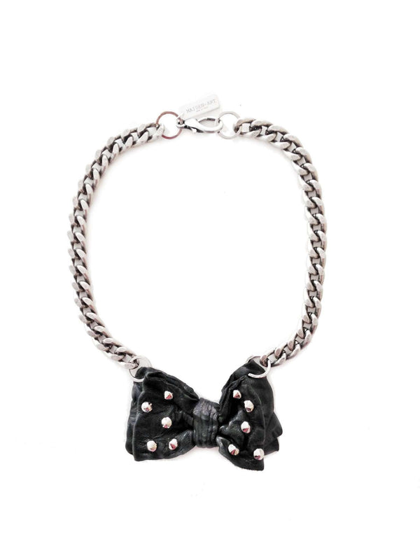 Leather Studs Papillon Necklace