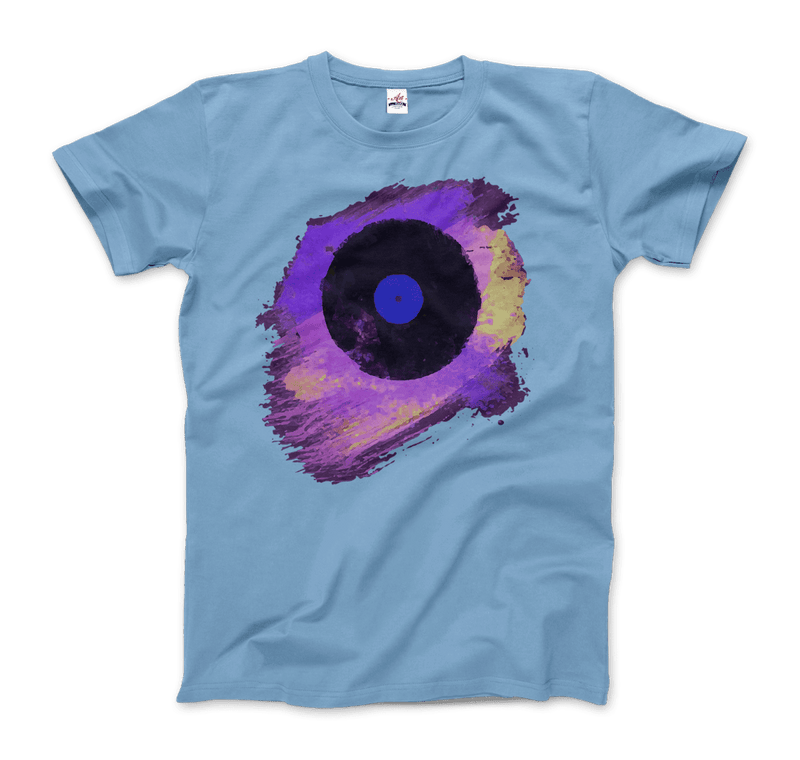 Vinyl Record Made of Paint Scattered in Purple Tones T-Shirt - dreadavinci