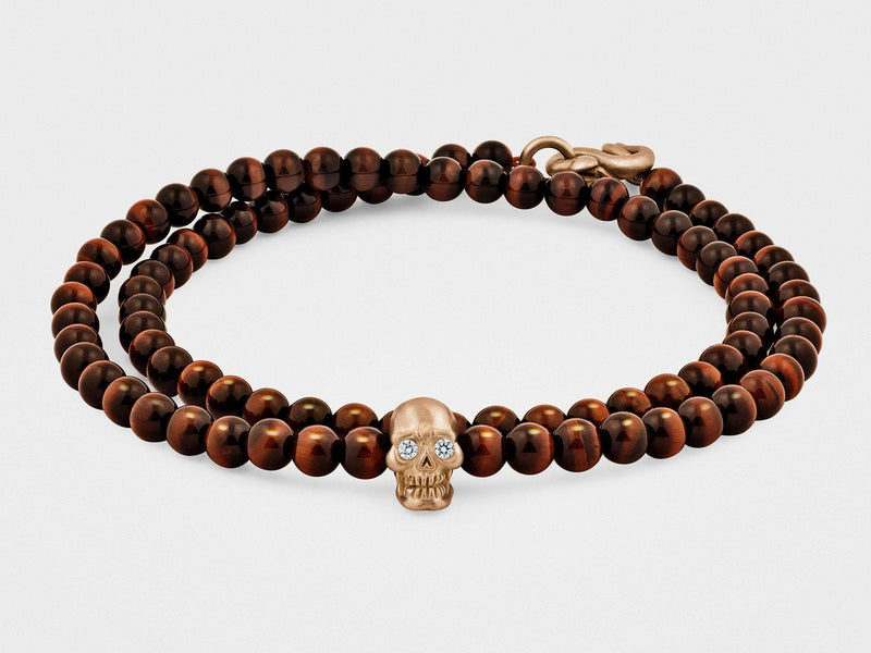 Double-Wrap Skull Bracelet in 18K Gold With Diamond Eyes, Red Tiger Eye and Snake Clasp - dreadavinci