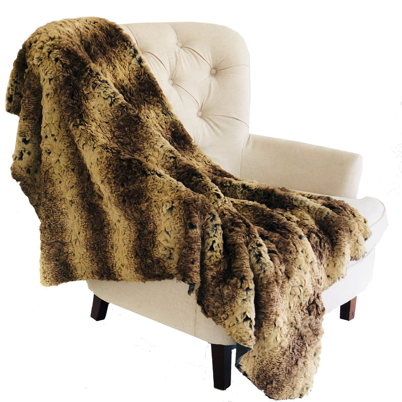 Beige and Brown Chinchilla Faux Fur Luxury Throw - dreadavinci