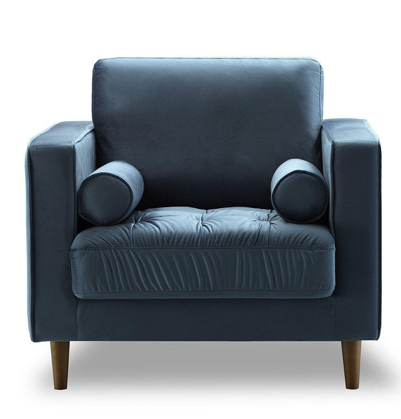 Bente Tufted Velvet Lounge Chair - Light Blue - dreadavinci
