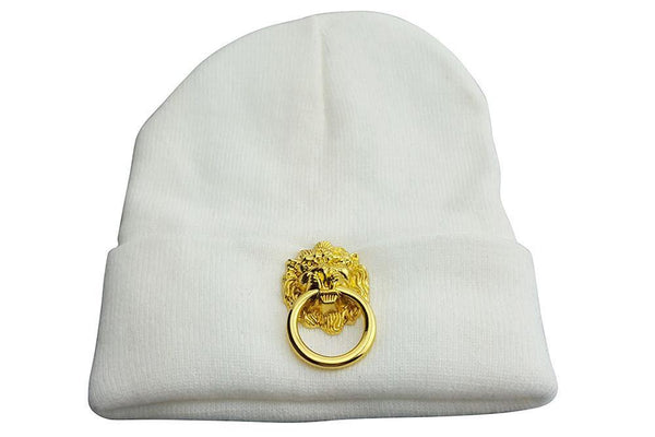 White Skullcap With Large Metal Lion - dreadavinci