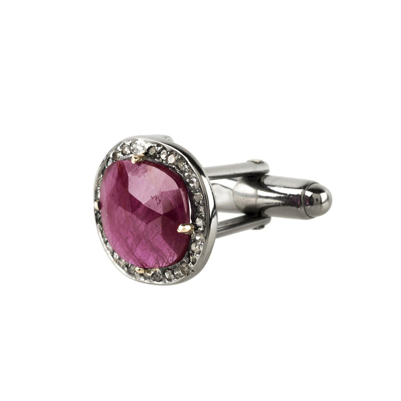 Ruby Cufflink Oxidised Silver Champagne Diamonds - dreadavinci