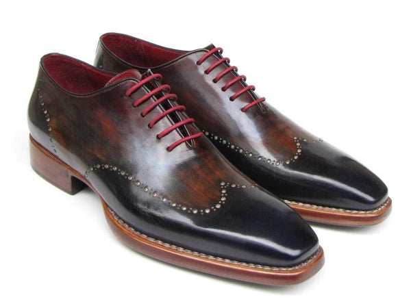 Paul Parkman Men's Wingtip Oxford Goodyear Welted Navy Red Black (ID#081-MIX) - dreadavinci