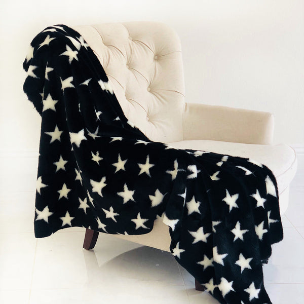 Black and White Stars Soft Handmade Luxury Throw - dreadavinci