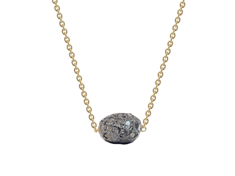 "Diamond Encrusted Meteorite in Gold Plated Sterling Silver, 16"" - dreadavinci"