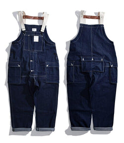 Denim Overalls Jeans Mens Cargo Work Pants Functional Multiple Pockets Pant Coveralls Men Loose Dark Blue Bib Trousers - dreadavinci
