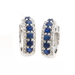 14k White Gold Sapphire & Diamond Huggie Hoop Earrings - dreadavinci