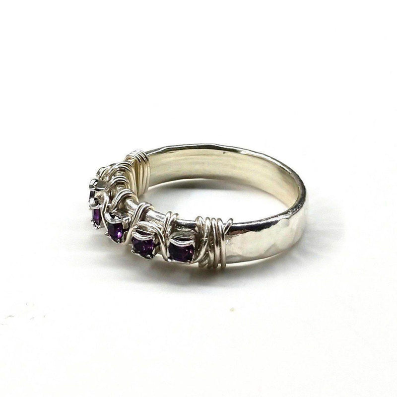 Sterling Silver Hammered Amethyst Rhinestone Bling Ring - dreadavinci