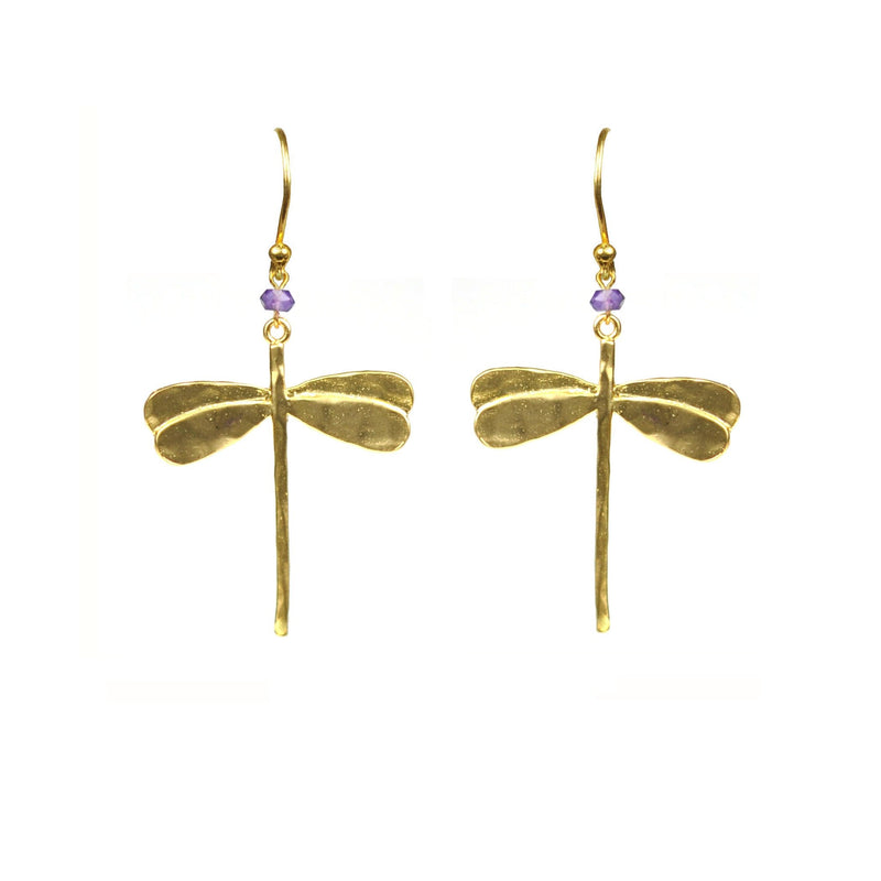 Dragonfly Amethyst Earrings - dreadavinci