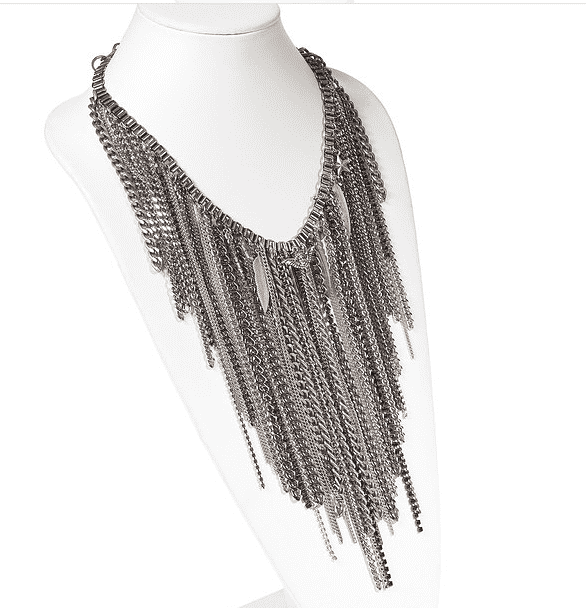 Chain Fringe Necklace With Antique Silver Ad Brass Chains, Studs, Swarovski Crystals and Charms. Trendy Necklace, Trendy - dreadavinci