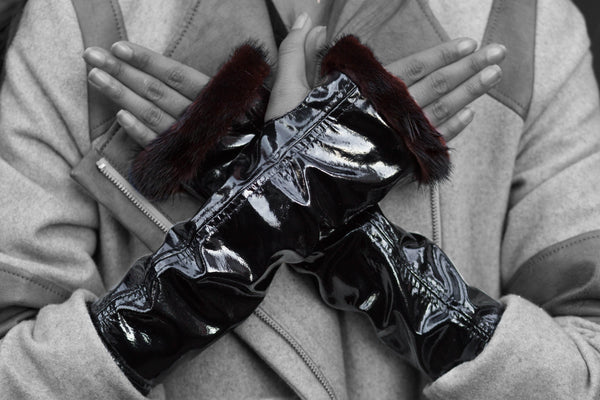 Black Patent Leather Knuckle Duster Gloves - dreadavinci