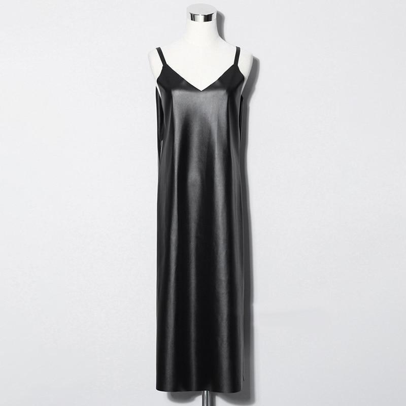 Bakaitis Vegan Leather Spaghetti Dress - dreadavinci