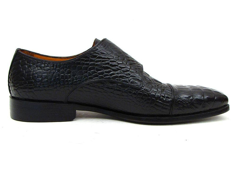 Paul Parkman Men's Double Monkstraps Black Crocodile Embossed Calfskin (ID#045BK41) - dreadavinci