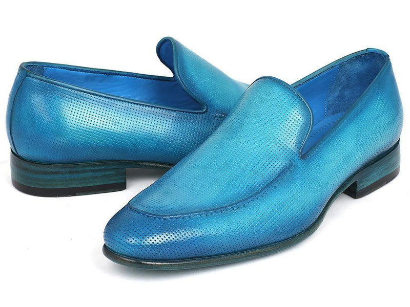 Paul Parkman Perforated Leather Loafers Turquoise (ID#874-TRQ) - dreadavinci