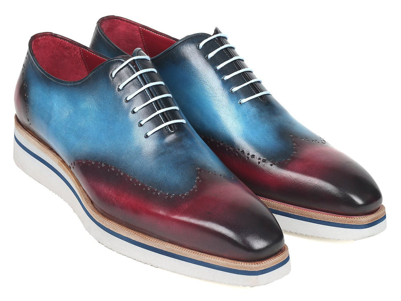 Paul Parkman Men's Smart Casual Wingtip Oxfords Blue & Purple (ID#187-BLU-PRP) - dreadavinci