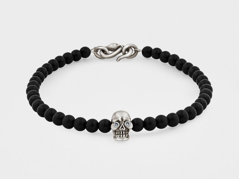 Skull Bracelet in Sterling Silver With Diamond Eyes, Black Onyx and Snake Clasp - dreadavinci