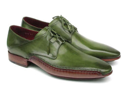 Paul Parkman Men's Ghillie Lacing Side Handsewn Dress Shoes - Green Leather Upper and Leather Sole (ID#022-GREEN) - dreadavinci
