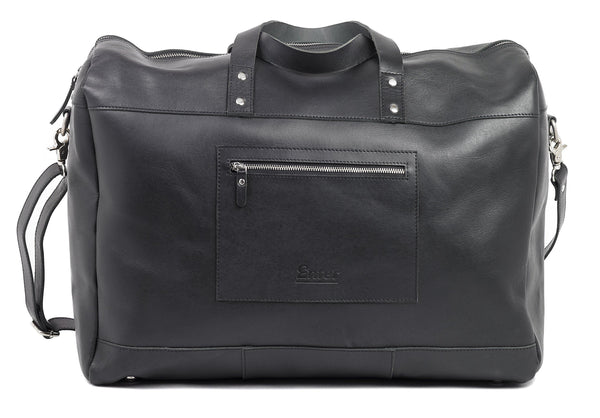 Black Leather Duffel Bag - dreadavinci