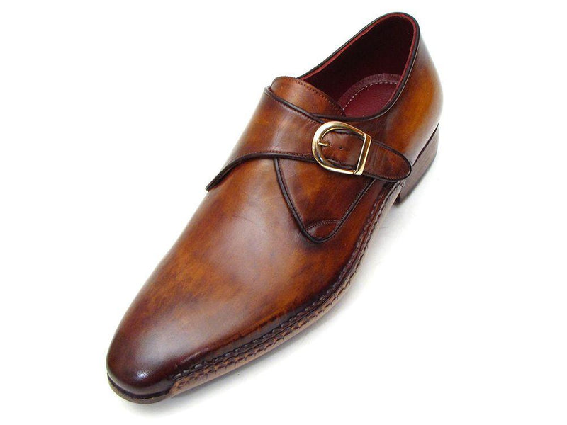 Paul Parkman Men's Single Monkstraps Brown Leather (ID#69V5E) - dreadavinci