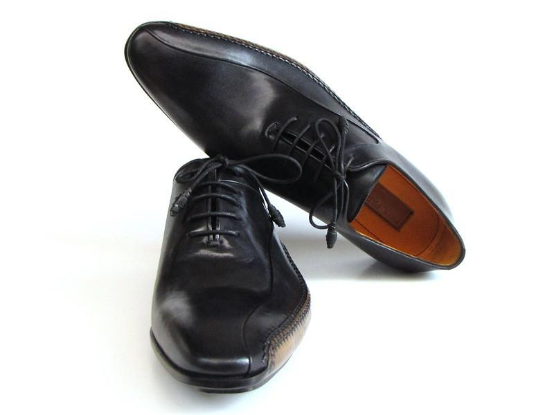 Paul Parkman Men's Black Leather Oxfords - Side Handsewn Leather Upper and Leather Sole (ID#018-BLK) - dreadavinci