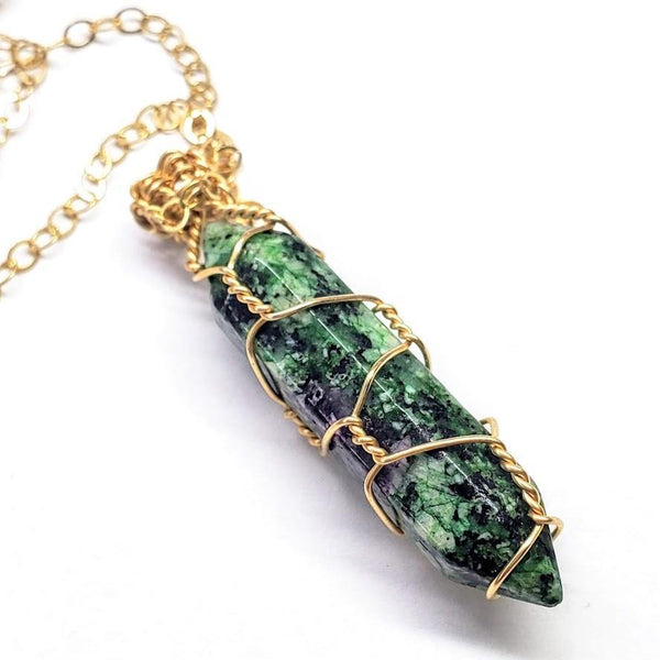 Gold Wire Wrapped Caged in Ruby in Zoisite Pointed Crystal Necklace for Him - dreadavinci