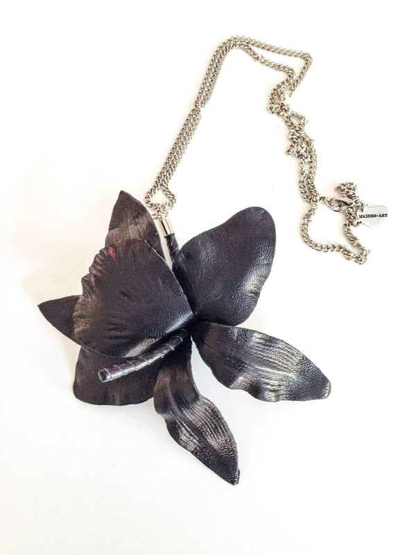 True Leather Orchid Necklace - dreadavinci