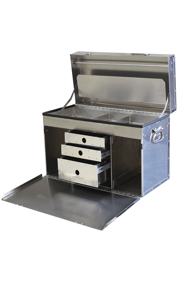 "DF1000D ""Deluxe"" Tack Box - triple drawer ... mirror finish"
