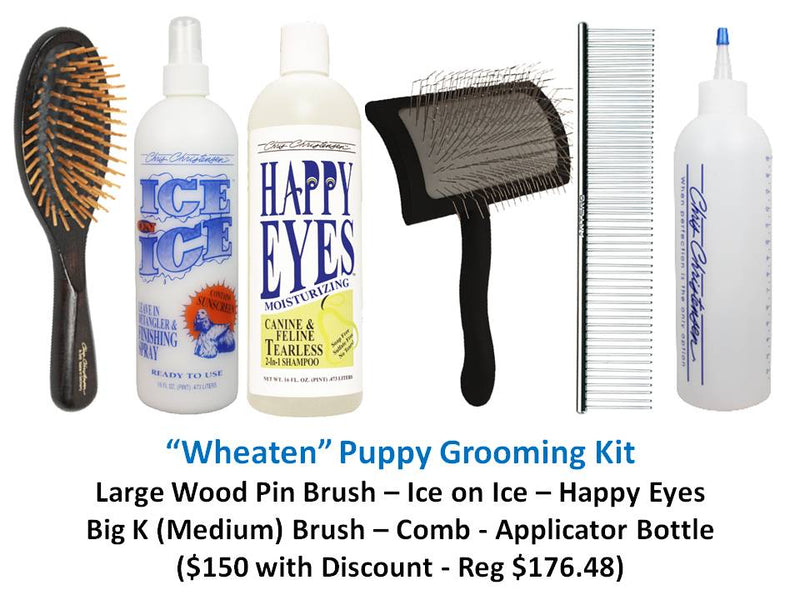 """Wheaten"" Puppy Grooming Kit - Ice Slip Brush"