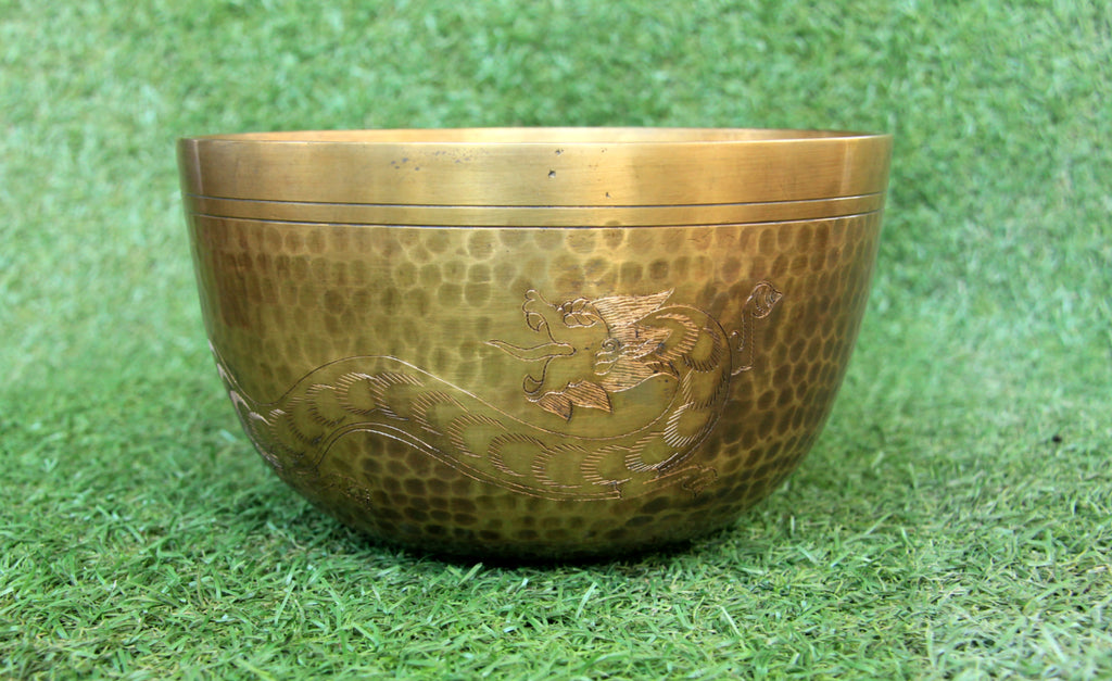 Deep Singbowl - Dotted Antique Plain Dragon - For Meditation