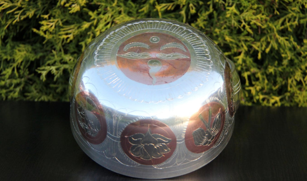 Deep Singbowl - Silver Ashtamangala - For Space Clearing