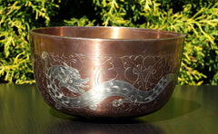Deep Singbowl - Copper Dragon - For Space Clearing - Singbowls