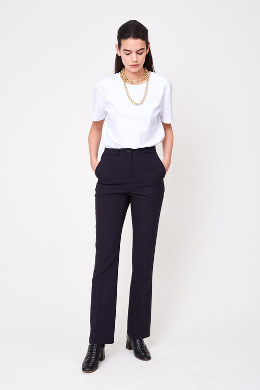 navy blue cigarette cut women's tailored pants