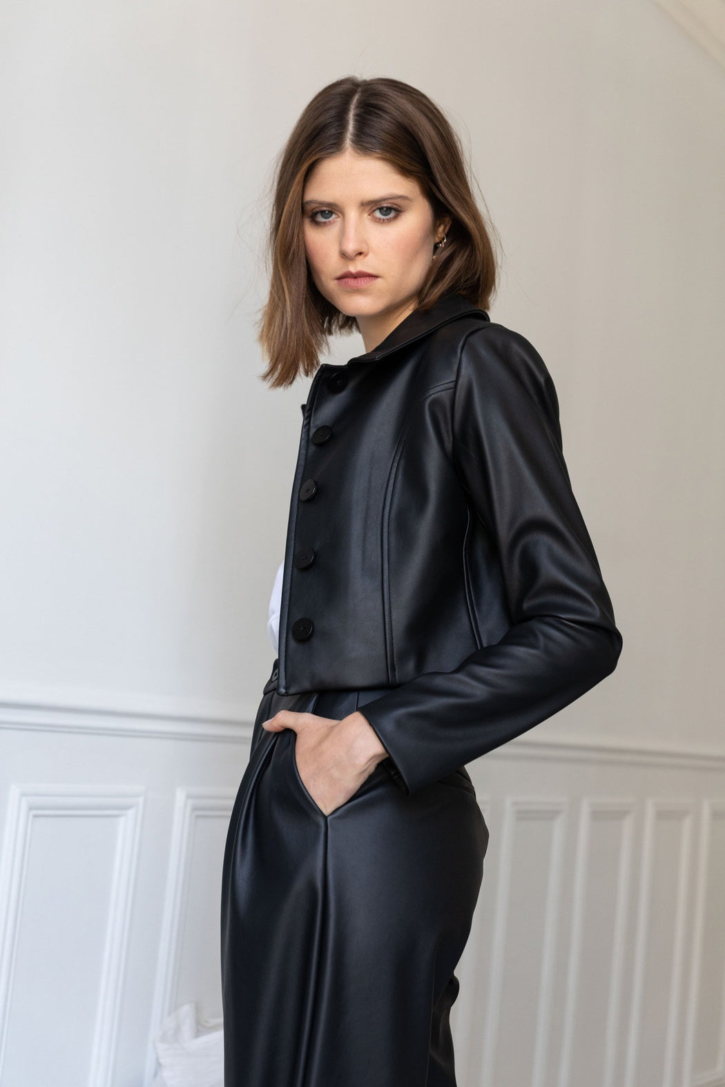 MATTE FAUX LEATHER JACKIE JACKET - Admitted