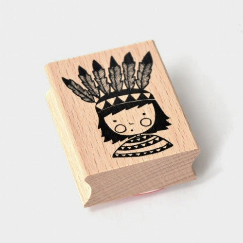 Little Indian Wooden Stamp by Angela Maassen