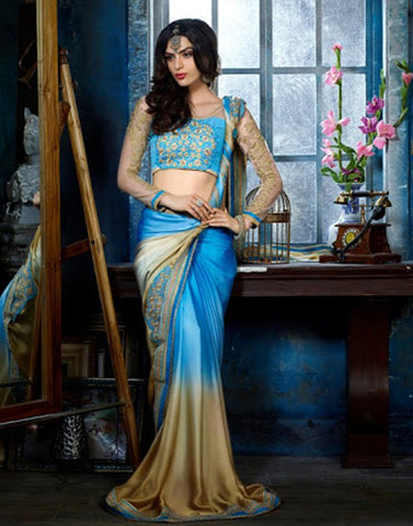 Blue Color Satain Saree