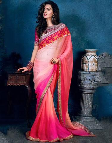 Peach Color Chiffon Saree