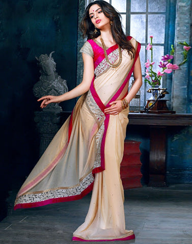 Cream Color Bamberg Saree