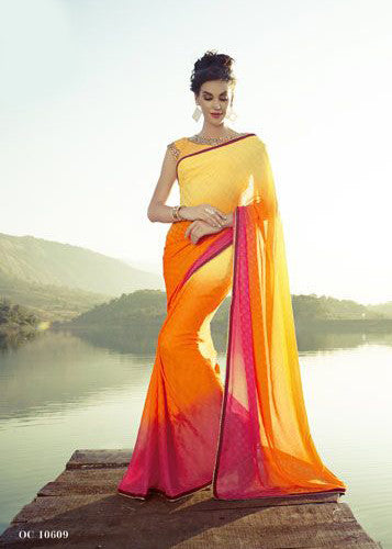 Yellow Color Crepe Party Wear Saree