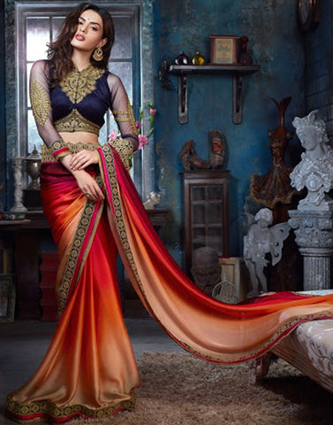 Multicolor Satain Saree