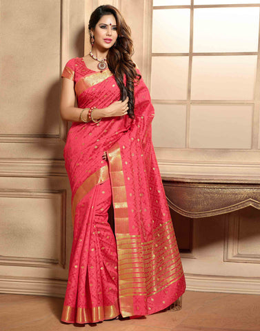 Pink Color Tussar  Saree
