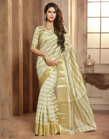 Beige Color Tussar  Saree