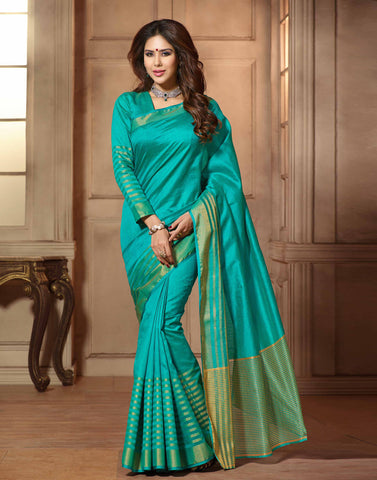 Sea Green Color Tussar  Saree