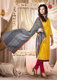 Yellow Color Chanderi Salwar Kameez (Semi Stitched)